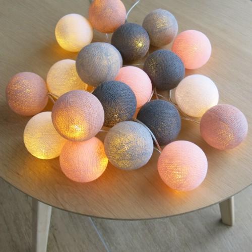 cotton ball lights 20 er lichterkette rosa altrosa wei grau b lle led ku ebay. Black Bedroom Furniture Sets. Home Design Ideas