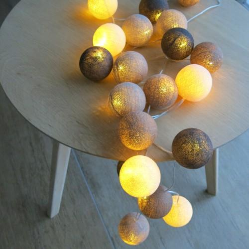 cotton ball lights 20 er lichterkette braun creme taupe. Black Bedroom Furniture Sets. Home Design Ideas