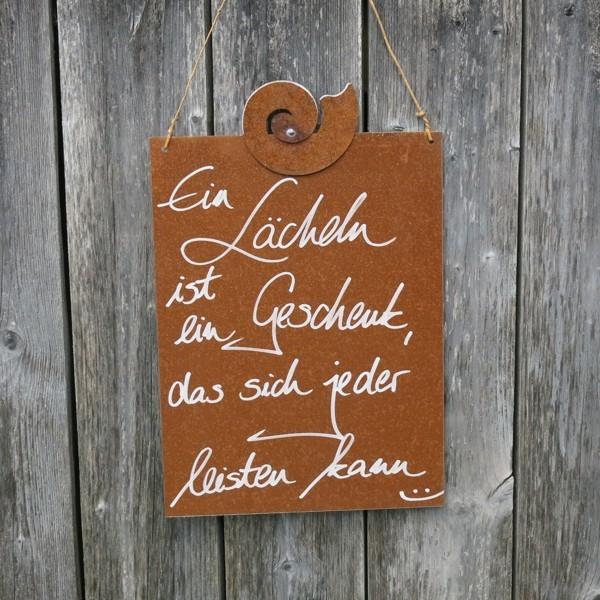 Schild Rost Garten Ein Lächeln ist ein Geschenk das sich jeder leisten kann