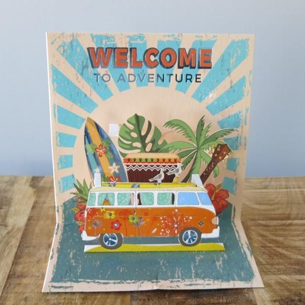 Pop Up Karte Bus surfen Hippie Reise Welcome to adventure