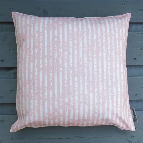 Outdoor Kissen Little stripes rosa 47 cm Garten für draußen