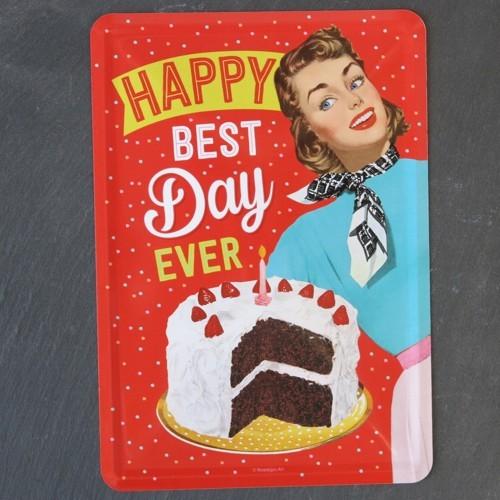 Nostalgic Art Blechpostkarte Happy Best Day Ever Birthday Postkarte Metall