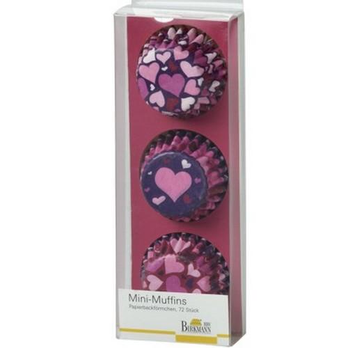 Mini Muffinförmchen Cupcake Papierförmchen Muffin Herz rosa lila pink Herzen Birkmann