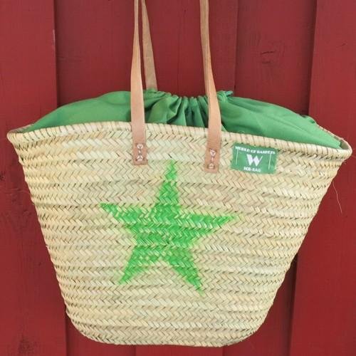 Korbtasche Stern grün Tasche Markttasche Korb Ibizatasche