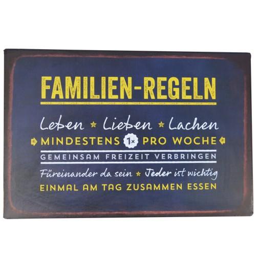 Metallschild Familien-Regeln Leben Lieben Lachen Blechschild Magnettafel Vintage Art