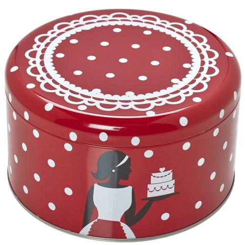 Plätzchendose Cake Couture Punkte rot weiß Keksdose Dose Blechdose Gebäckdose Ø 14 cm Birkmann