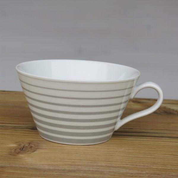 Arzberg Tric Cafe au lait Tasse straight grey grau Streifen Porzellan