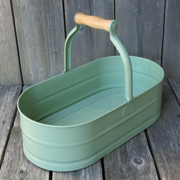 Korb mit Holzgriff grün Vintage oval Metall Zink 37 cm
