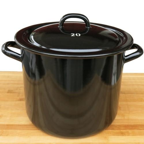 Riess Emaille Topf schwarz hoch 20 cm Riesen Zwerge Kochtopf mit Deckel