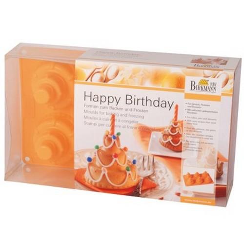 Backform Happy Birthday groß Kuchen Torte Silikon 6 er Birkmann