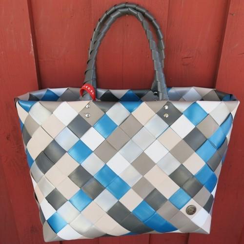 ICE BAG 5017 89 Tasche Witzgall Diagonal Einkaufskorb blau grau weiß