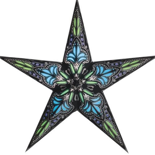Starlightz Stern Jaipur klein schwarz türkis Leuchtstern Papier Faltstern