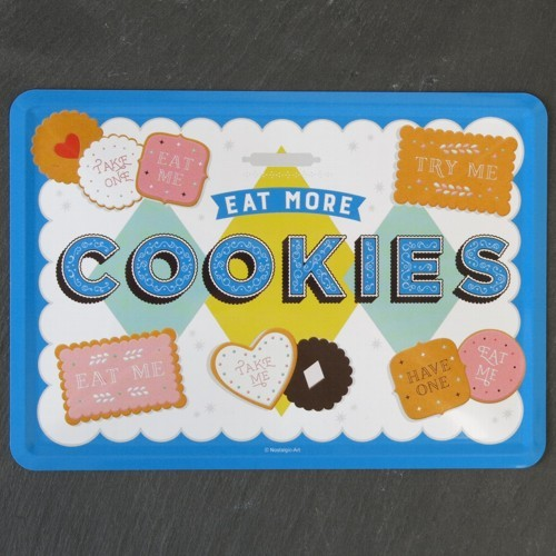 Nostalgic Art Blechpostkarte Eat more cookies Postkarte Metall Plätzchen Kekse