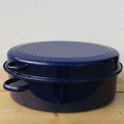 Gänsebräter blau oval 42cm mit Deckel von Riess Email