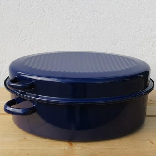 Riess Emaille Bräter mit Deckel 42 cm blau Gänsebräter Email oval