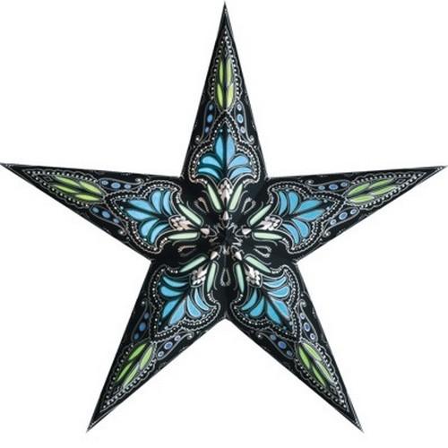 Starlightz Jaipur schwarz türkis Leuchtstern Papier Stern Lampe Weihnachtsstern