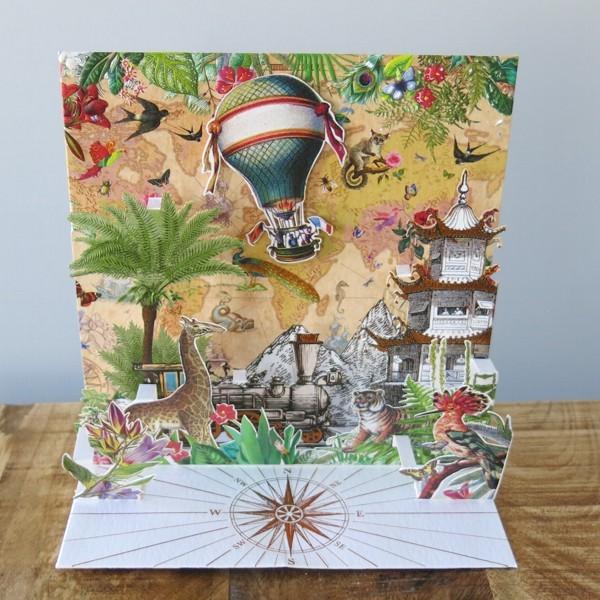 Pop Up Karte Heißluftballon Reise Welt 3 D Geburtstag