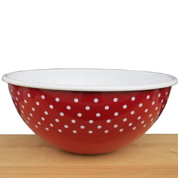 Riess Emaille Schüssel rot 26 cm Pünktchen weiß Punkte