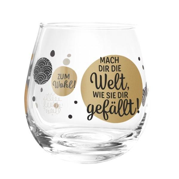 Formano Glas Spruch Mach dir die Welt wie sie dir gefällt Wein Cocktail Wasser