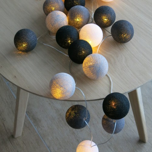 cotton ball lights 20 er lichterkette grau schwarz wei. Black Bedroom Furniture Sets. Home Design Ideas