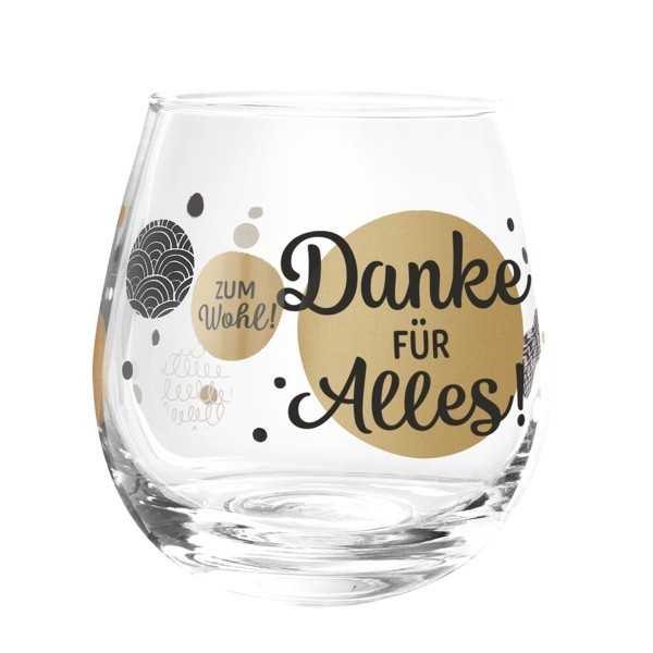 Formano Glas Spruch Danke für alles Prosit Wein Wasser Cocktail