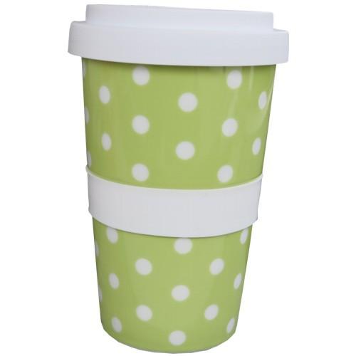 Coffee to go Becher grün Punkte weiß Polka Dots Kaffeebecher NEWSTALGIE