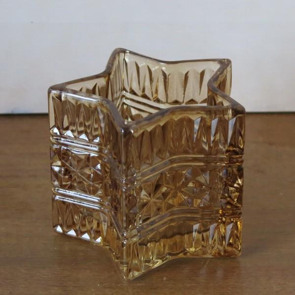 Light Living Teelichthalter Stern hell braun 10 cm Windlicht Glas STAR