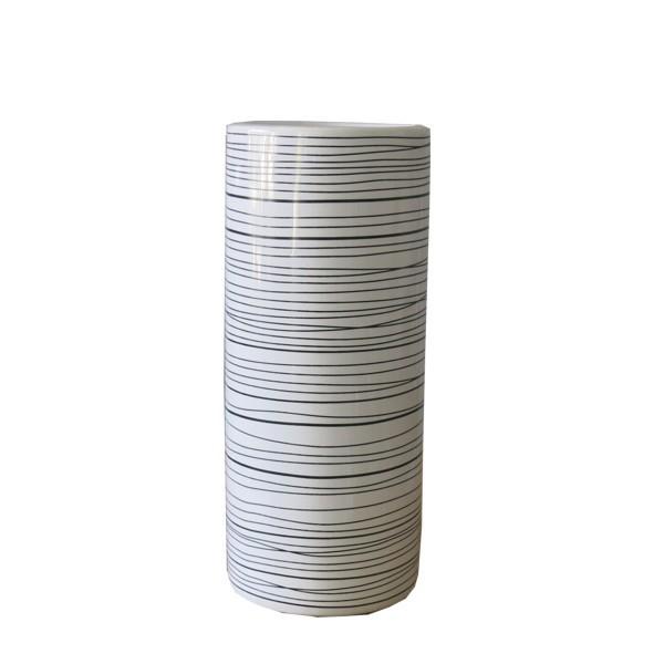 Vase weiß schwarz Grafik 23 cm Blumenvase Keramik