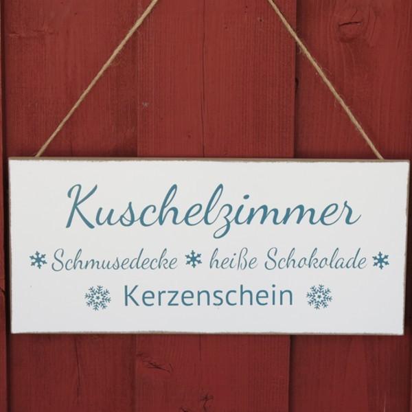 Schild Kuschelzimmer Schmusedecke heiße Schokolade Kerzenschein Deko Holz