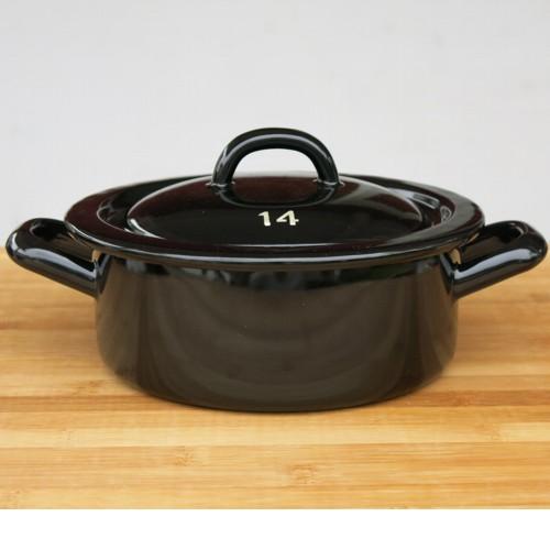 riess emaille topf schwarz 14 cm riesen zwerge kochtopf mit deckel ebay. Black Bedroom Furniture Sets. Home Design Ideas