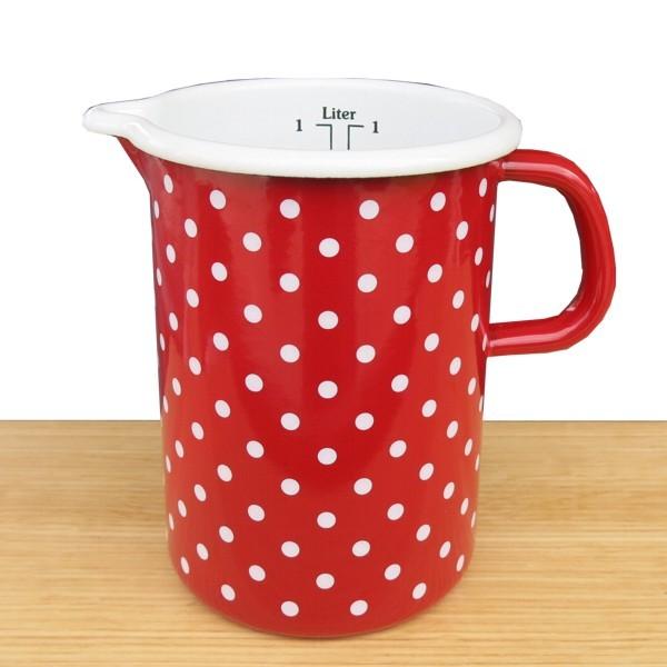 Riess Emaille Küchenmaß rot 1 l Pünktchen weiß Punkte Meßbecher