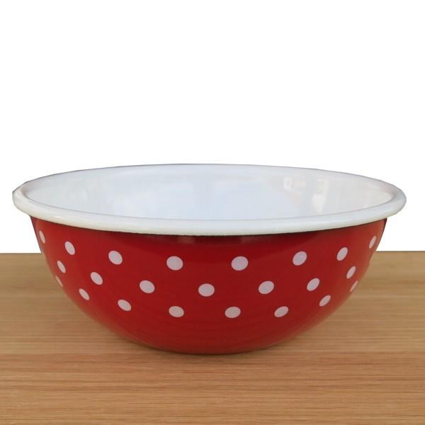 Riess Emaille Schüssel rot 16 cm Pünktchen weiß Punkte Küchenschüssel