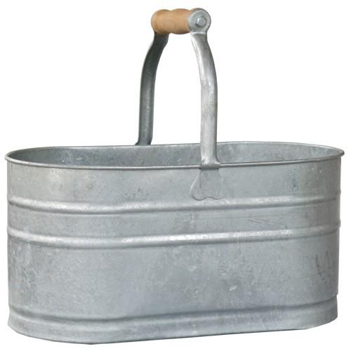 Korb Zink hoch mit Holzgriff oval 37 cm Pflanzkorb Pflanztopf verzinkt