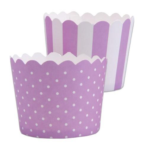MINI Muffinförmchen Cupcake Papier Cups flieder weiß Muffin Städter 12 Stück