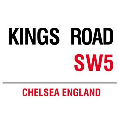 Metallschild Kings Road mittel Blechschild London Magnettafel