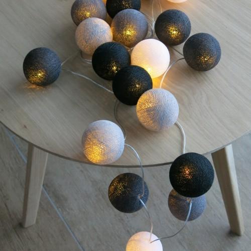 Cotton Ball Lights 20 er Lichterkette grau schwarz weiß Bälle LED Kugeln