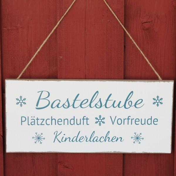Schild Bastelstube Plätzchnduft Vorfreude Kinderlachen Deko Holz