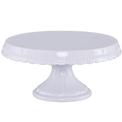 Tortenplatte auf Fuß 23 cm Vintage weiß Keramik Kuchenplatte Kuchenteller Birkmann