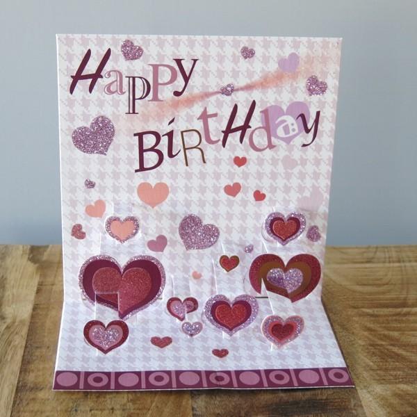 Pop Up Karte Geburtstag Herz Happy Birthday 3 D Herzen