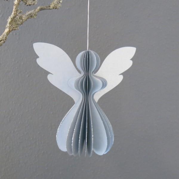 Engel Papier silber 12,5 cm Faltengel Newstalgie