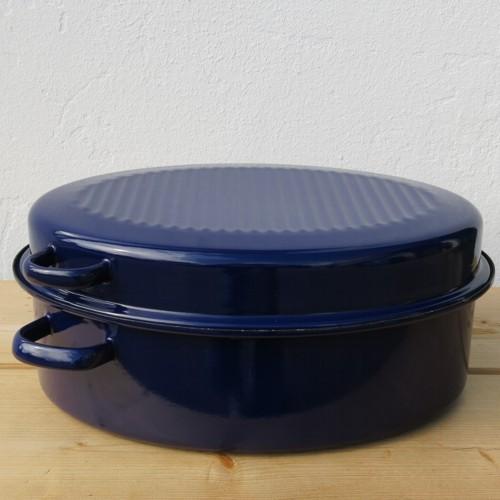 riess emaille br ter mit deckel 42 cm blau g nsebr ter email oval ebay. Black Bedroom Furniture Sets. Home Design Ideas