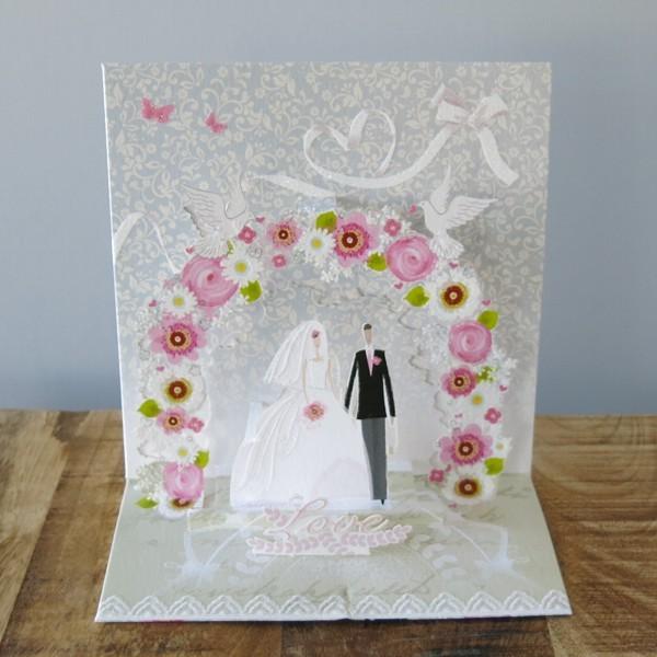 Pop Up Karte Hochzeit Brautpaar 3 D Tauben Blumen
