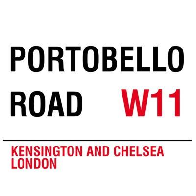 Metallschild Portobello Road mittel Blechschild London Magnettafel
