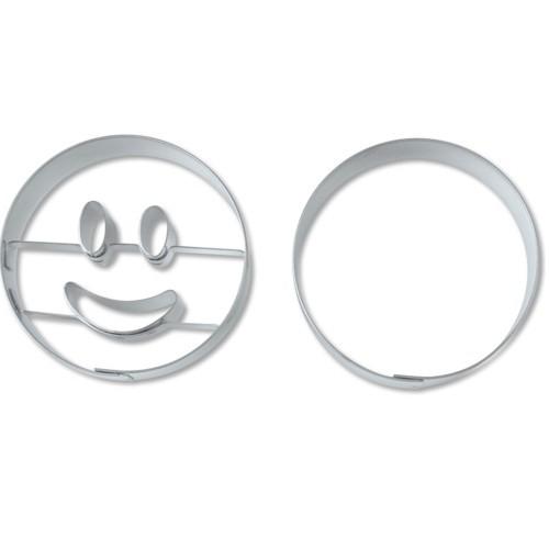 Ausstechform Kreis Gesicht lachend 5,5 cm Ausstecher Set 2 Stück Städter