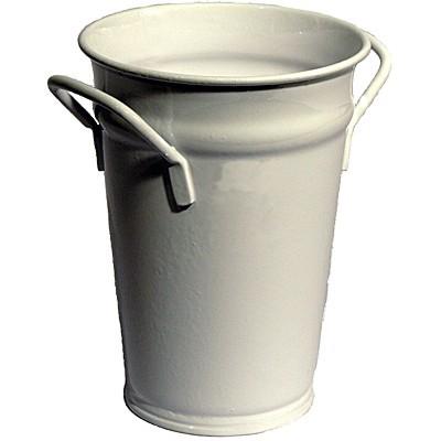 Vase weiß 37 cm Zink verzinkt Zinkvase Metall Blumenvase