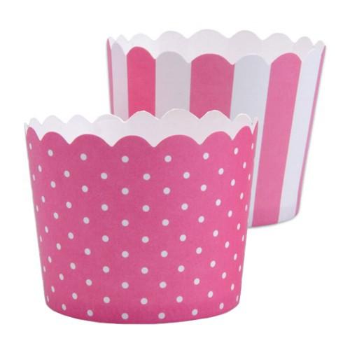 MINI Muffinförmchen Cupcake Papier Cups pink weiß Muffin Städter 12 Stück