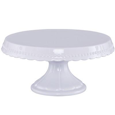 Tortenplatte auf Fuß 30 cm Vintage weiß Keramik Kuchenplatte Kuchenteller Birkmann