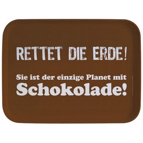 Rannenberg & Friends Tablett Rettet die Erde Sie ist der einzige Planet mit Schokolade Serviertablet