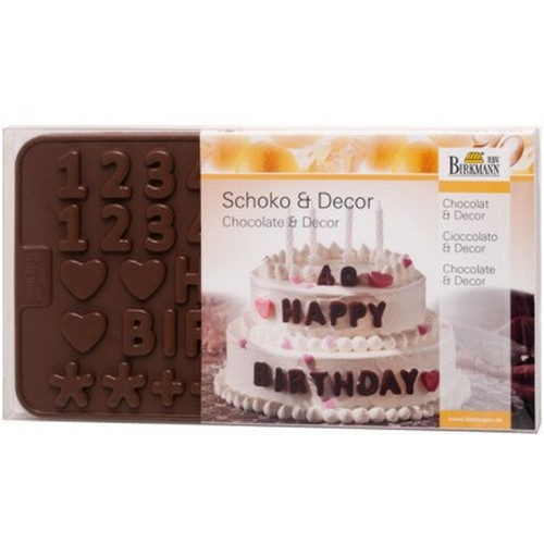 Schokoladenform Dekorform Buchstabe Zahl A ? Z ABC 0 ? 9 Silikon Birkmann
