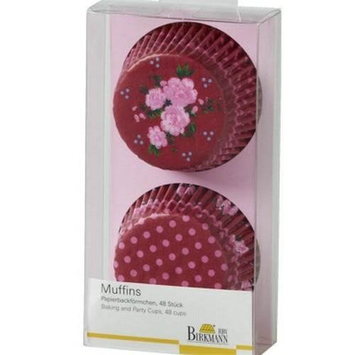 Muffinförmchen Cupcake Papierförmchen Muffin La vie en Rose rot Rosen Birkmann